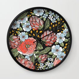 Retro Vintage Floral Arrangement On Black Background Wall Clock