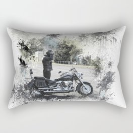 Biker near motorcycle on white Rectangular Pillow