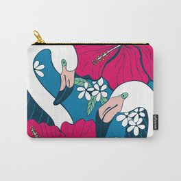 Flamingos and tropical flowers and leaves Carry-All Pouch