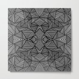 black and white abstract lines triangles pattern Metal Print