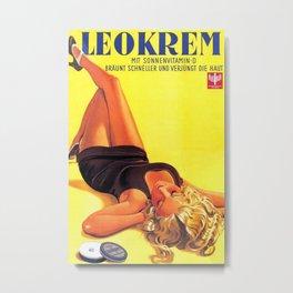 1939 Keokrem German Skincare Suntan Lotion Vintage Advertising Poster  Metal Print