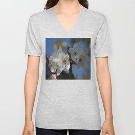 Close Up Of White Cherry Blossom Flowers Unisex V-Neck