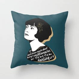 Millionaire Quote - Dorothy Parker - Teal Throw Pillow