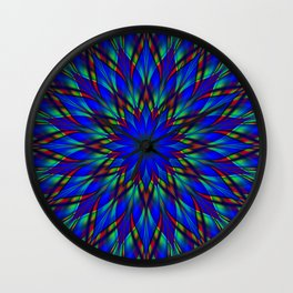 Stained glass flower mandala Wall Clock