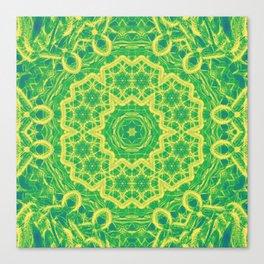 mystic mandala in green and yellow Canvas Print