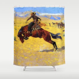 """Frederic Remington Western Art """"A Cold Morning"""" Shower Curtain"""