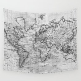 Black and White World Map (1801) Wall Tapestry