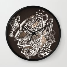 Teacup extravaganzza. Illustration wall art Wall Clock