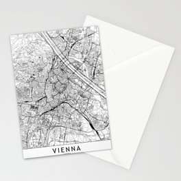 Vienna White Map Stationery Cards
