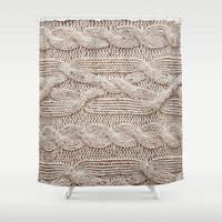 sweater Shower Curtains featuring sweater by shannonblue