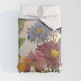 Dahlia Flowers with a Bird and a Crown Comforters