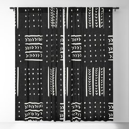 Mud cloth in black and white Blackout Curtain