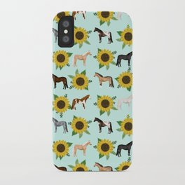 Horse, sunflowers, sunflowers, flowers, flower, mint, horses, cowgirl, texas iPhone Case