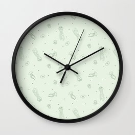 Jellyfish in Green Wall Clock
