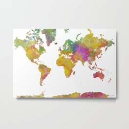 Map of the World - Watercolor 5 Metal Print