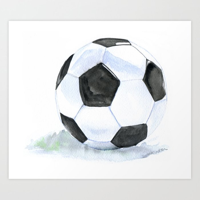 Soccer Ball Watercolor Art Print By Susanwindsor