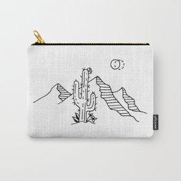 Desert Saguaro Cactus Mountain Range Under Double Moon Carry-All Pouch