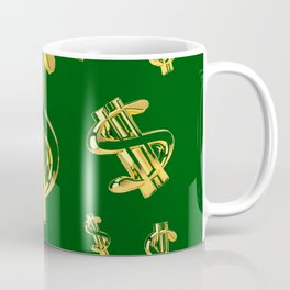 FLOATING GOLDEN DOLLARS IN GREEN ART DESIGN Coffee Mug