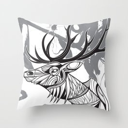 Elk black Throw Pillow