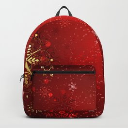 Red Background with Gold Snowflakes Backpack