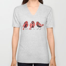 Finches – Red & Black Palette Unisex V-Neck