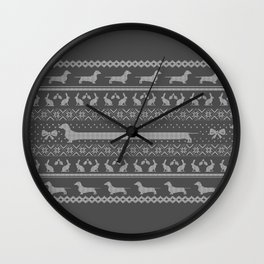 Ugly christmas sweater | Smooth dachshund grey Wall Clock