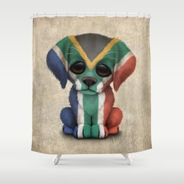 Cute Puppy Dog with flag of South Africa Shower Curtain
