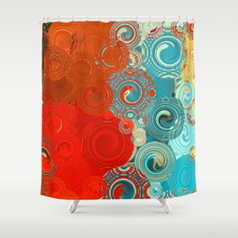 Red and Turquoise Swirls Shower Curtain