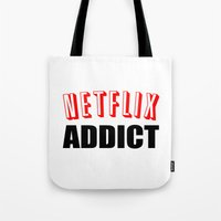 netflix Tote Bags featuring Netflix Addict by Poppo Inc.