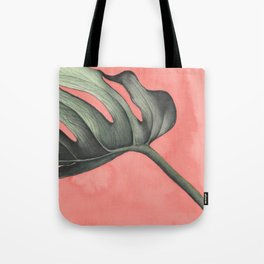 Monstera on Pink Tote Bag