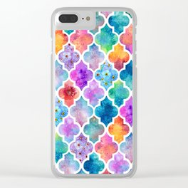 Colorful Watercolor Moroccan Pattern - I Clear iPhone Case