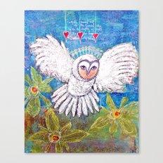 Flying White  Owl Canvas Print