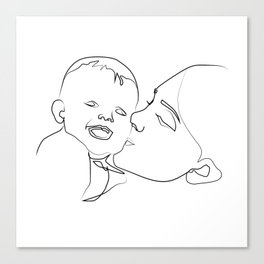 """"""" Mother's Day """" - Mother Kissing Child Canvas Print"""