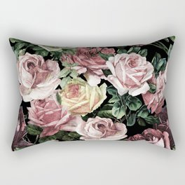 Vintage & Shabby chic - dark retro floral roses pattern Rectangular Pillow