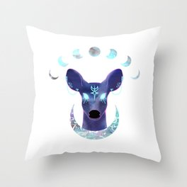 The Moon and the Doe Throw Pillow