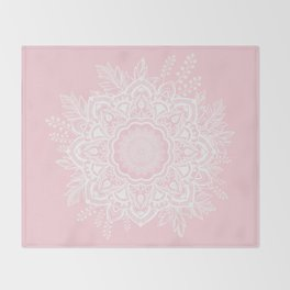 Mandala Bohemian Summer Blush Millennial Pink Floral illustration Throw Blanket