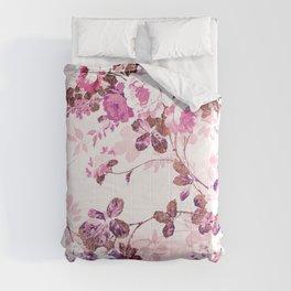 Elegant blush pink rose gold floral Comforters