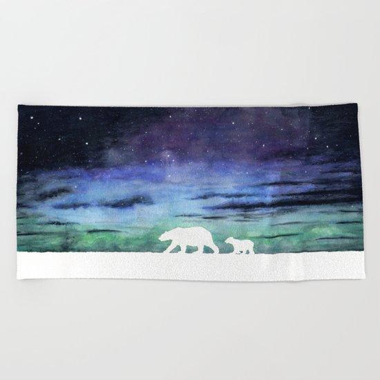 Aurora borealis and polar bears (white version) Beach Towel