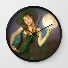 """Moonlighting"" - The Playful Pinup - Halloween Witch Pin-up Girl by Maxwell H. Johnson Wall Clock"