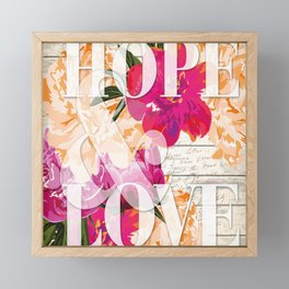 Painted Wood with Flowers, Hope & Love Framed Mini Art Print