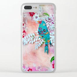 Little bird on branch Clear iPhone Case