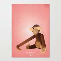 monkey Canvas Prints featuring Monkey by One Little Bird Studio