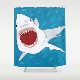 Shark Attack Underwater With Fish Swimming In The Background Shower Curtain