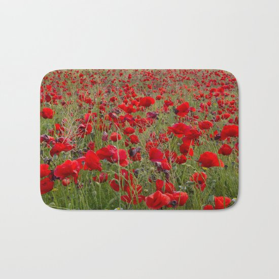 Field of poppies in the lake Bath Mat