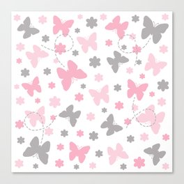 Pink and Grey Gray Butterfly Flower Canvas Print