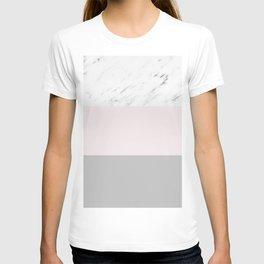 Pastel striping - soft grey marble T-shirt