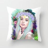 virgo Throw Pillows featuring Virgo by Sara Eshak