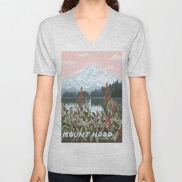 Mount Hood National Park Poster, Portland Oregon, Pacific Northwest, Vintage Retro Travel Poster Unisex V-Neck
