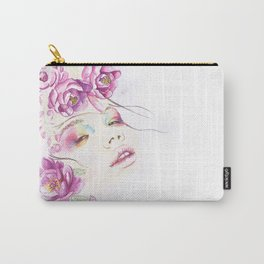 Girl with Flower Crown Watercolor lavender pink peonies Carry-All Pouch