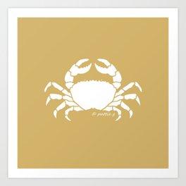 Crab Butter Yellow Background Art Print